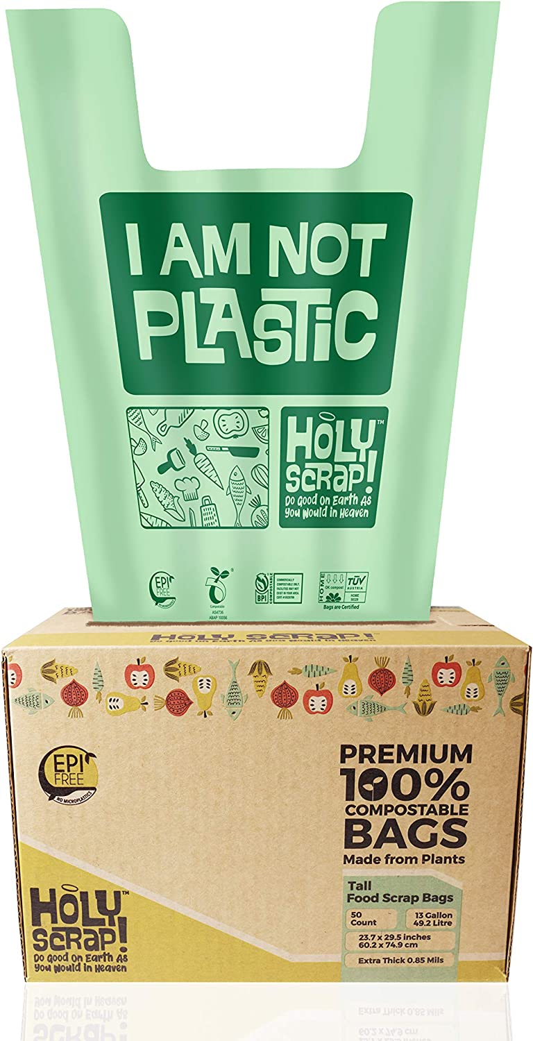 HOLY SCRAP! 100% Compostable Trash Bags, 13 Gallon, 49.2L, 50 Count, Heavy Duty 0.85 Mils, Tall Kitchen Bin Liners, Food Waste Bags, US BPI and Europe OK Compost Home Certified. Highest ASTM D6400