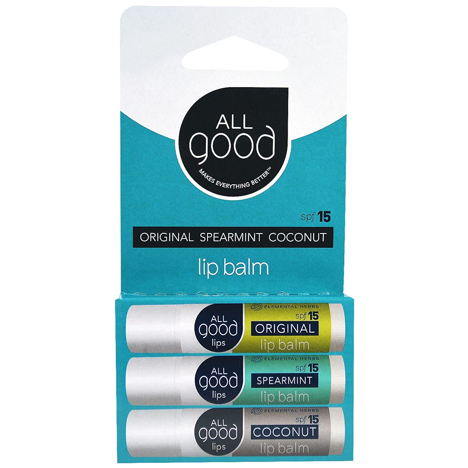 All Good Natural SPF 15 Lip Balm for Soft Smooth Lips - With Calendula, Lavender, Olive Oil, Beeswax, Vitamin E | Zinc Oxide for Safe Sun Protection (3-Pack) (Original/Spearmint/Coconut)