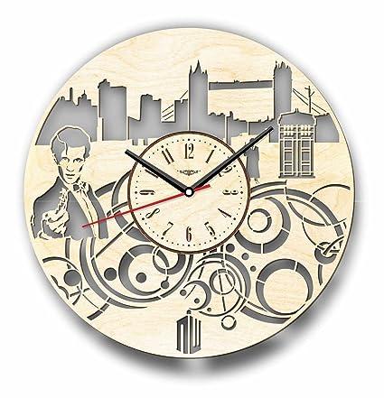 Doctor Who reloj de pared hecho de madera – perfecto y muy bien corte – Decora
