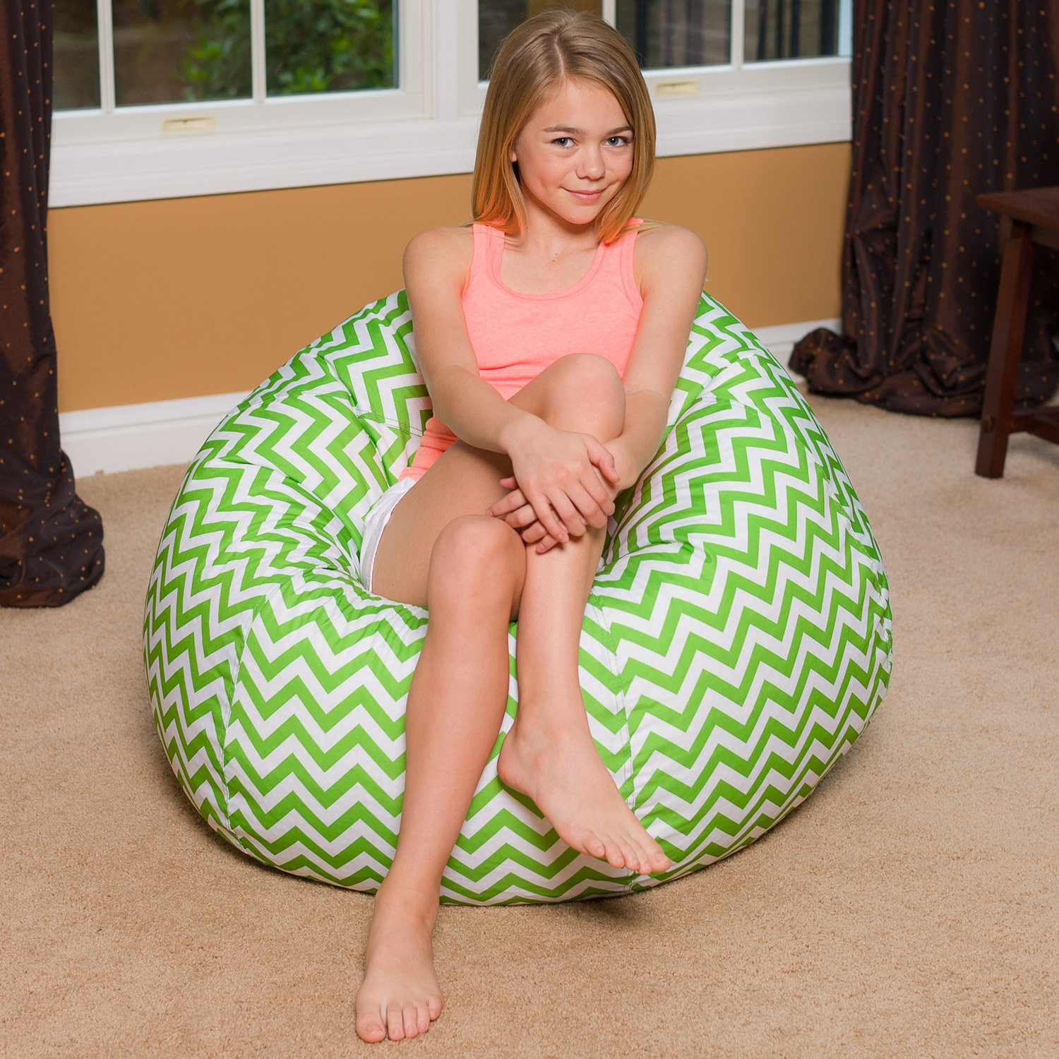 Big Comfy Bean Bag Chair: Posh Large Beanbag Chairs for Kids, Teens and Adults - Polyester Cloth Puff Sack Lounger Furniture for All Ages - 27 Inch - Chevron Green and White by Posh Beanbags (Image #6)