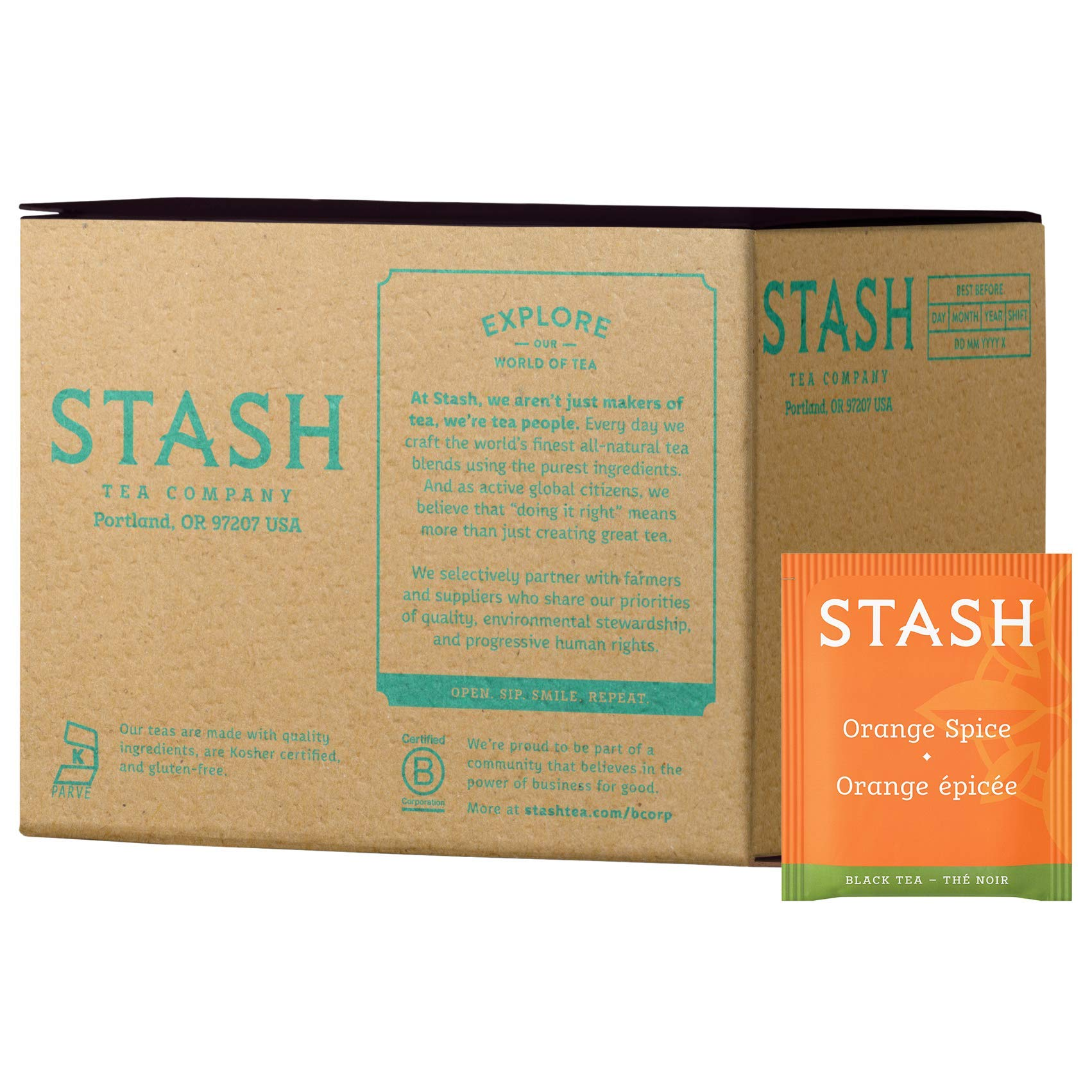 Stash Tea Orange Spice Black Tea 100 Count Box of Tea Bags in Foil (packaging may vary) Individual Black Tea Bags for Use in Teapots Mugs or Cups, Brew Hot Tea or Iced Tea by Stash Tea