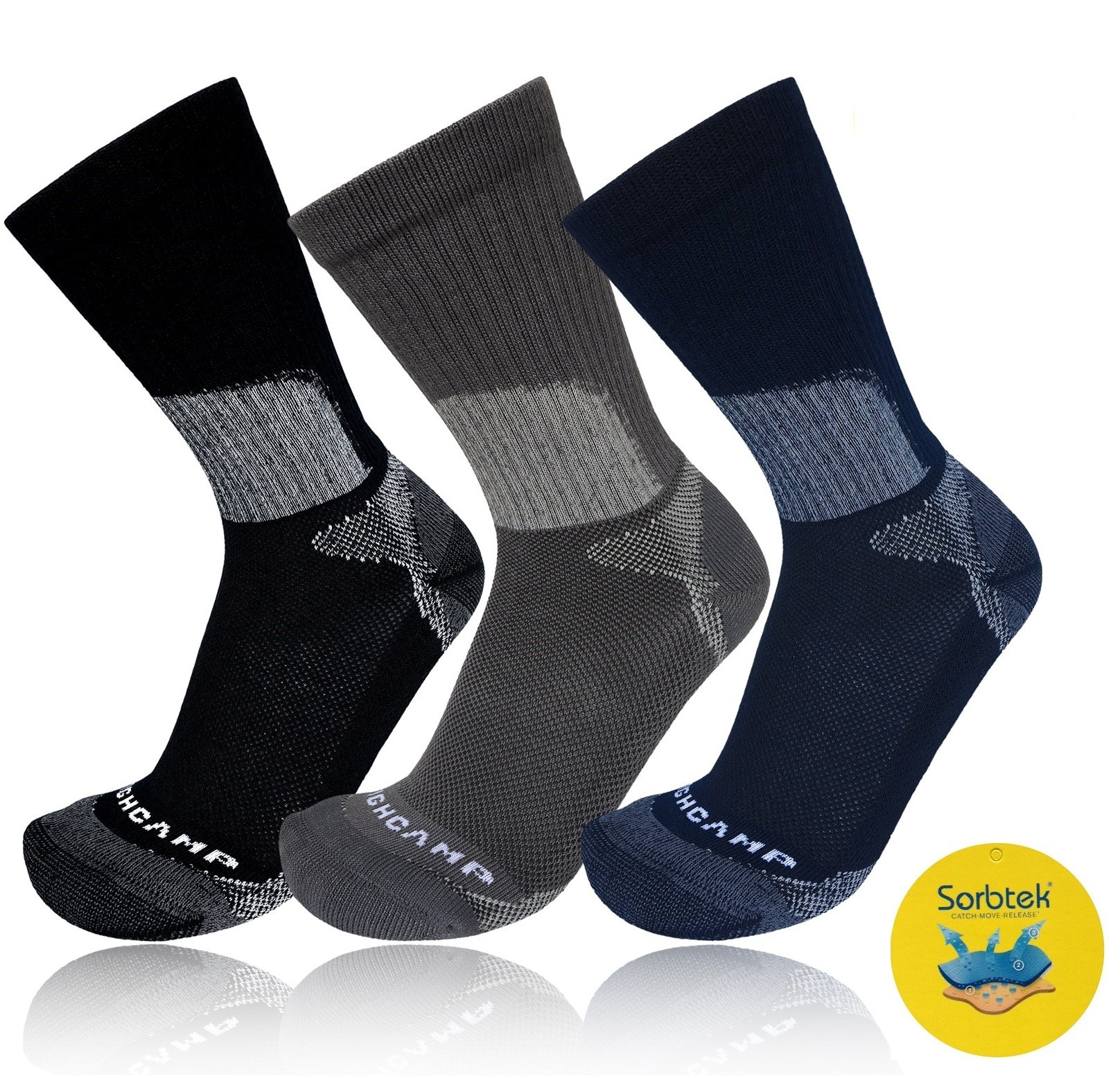 Highcamp Sorbtek Athletic Socks ASSORTED - 3PK- L/XL