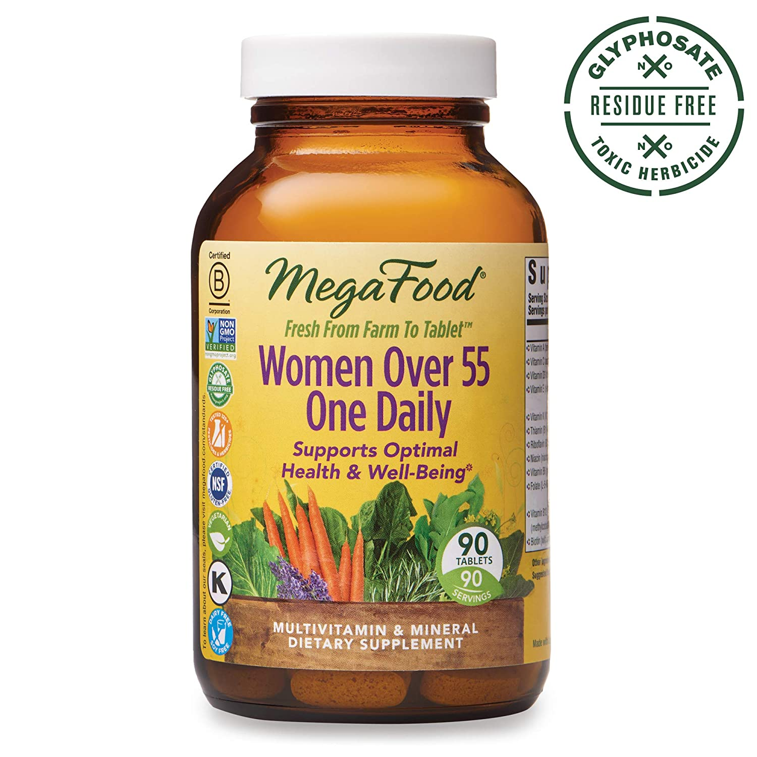 MegaFood - Women Over 55 One Daily, Multivitamin Support for Healthy Energy Production and Strong Bones with Vitamins C and D3, and Methylated Folate, Vegetarian, Gluten-Free, Non-GMO, 90 Tablet