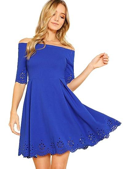 62eb555c4d Romwe Women s Scallop Hollow Hem Off Shoulder Half Sleeve A line Pleated  Dress Blue XS