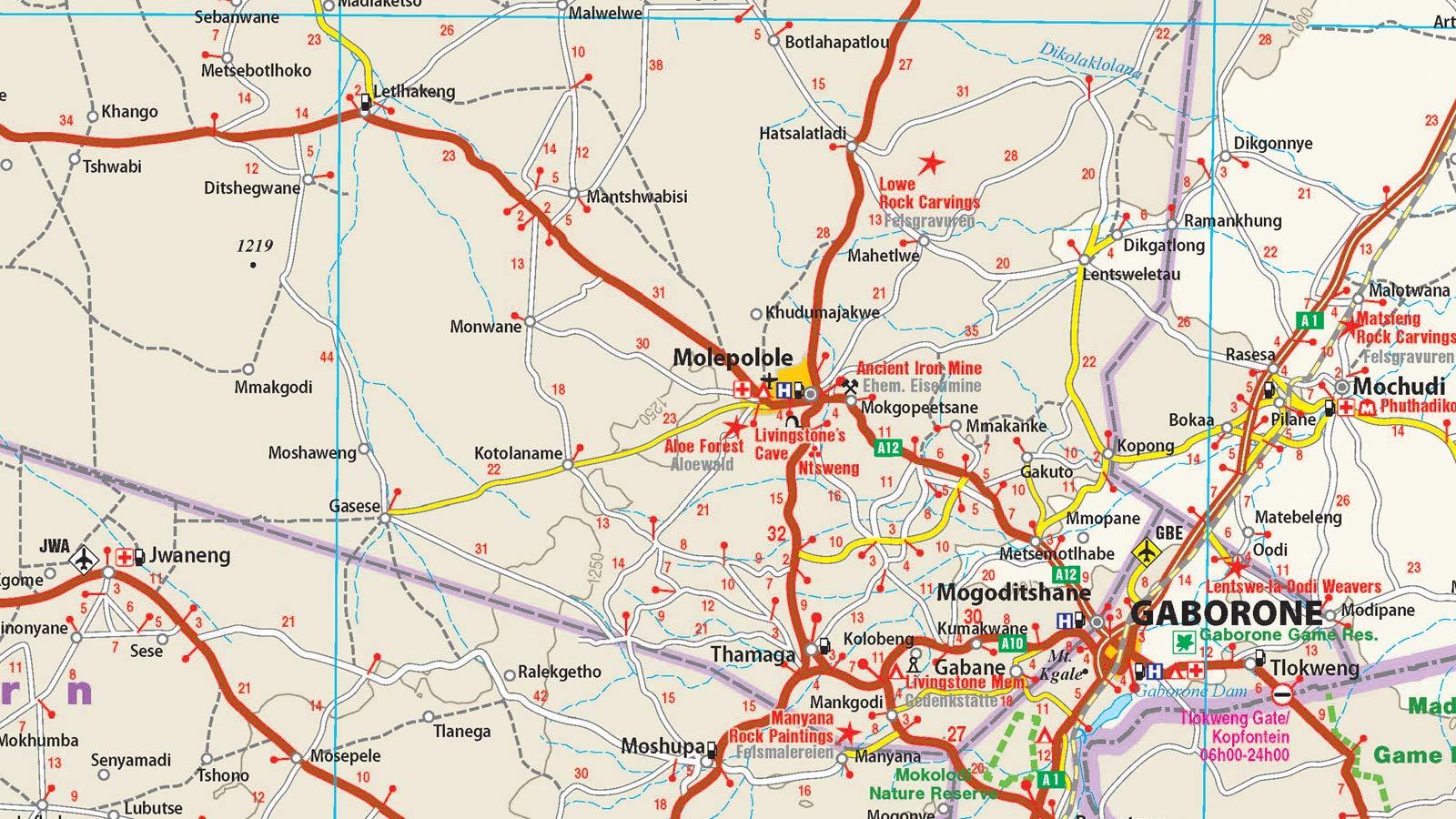 Botsuana, mapa impermeable de carreteras. Escala 1:1.000.000 ...