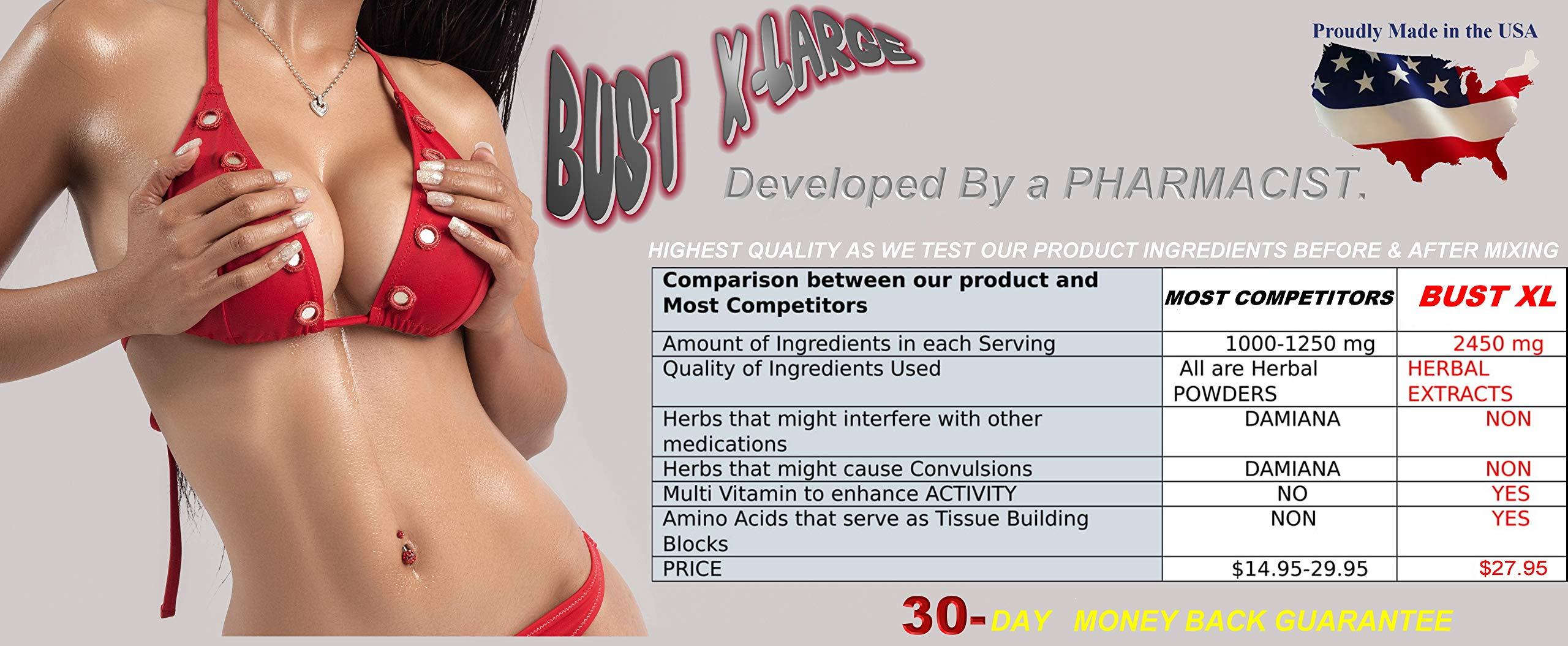 Bust X-Large Breast Enlargement, Breast Enhancer, Bust Enhancement Pills - Enjoy Larger, Fuller, Firmer Breasts. (Not a Breast Cream). 1 Month Supply