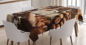 Ambesonne Brown Tablecloth, Vintage Collage with Coffee Beans and Mugs Sugarcubes Hot Aromatic Tasty Beverage, Rectangular Table Cover for Dining Room Kitchen Decor, 60