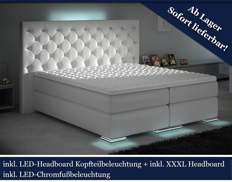 Boxspringbett weiß mit bettkasten  XXXL Boxspringbett Designer Boxspring Bett LED Chesterfield (Weiß ...