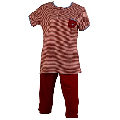 Ladies Striped Pyjamas Short Sleeved Top   3 4 Bottoms Polka Dot Trim PJs  Set 8742c93e3