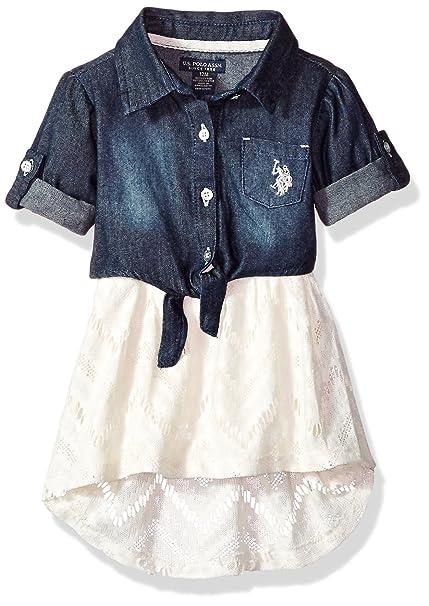 U S Polo Assn Baby Girls Casual Dress Vanilla 12m Amazon Ca