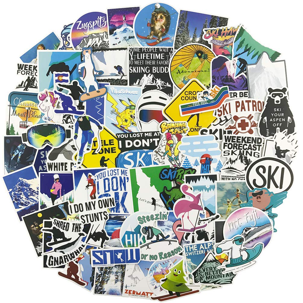 Cool Stickers for Snowboard, Winter Sport Vinyl Water Bottle Laptop Computer Phone Notebook Luggage Guitar Skateboard Decal 70Pcs Pack (Skiing)