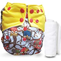 Motherly Reusable Baby Diaper with Insert Nappy Washable Cloth Diapers Nappies for Babies- Dual Color Style (Pattern-N11)