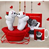 TIED RIBBONS Valentine's Gifts for Husband, Girlfriend, Wife, Boyfriend, Special Gifts Combo (Couple Teddy with Boat, Printed Coffee Mug (325 ml) and Greeting Card)