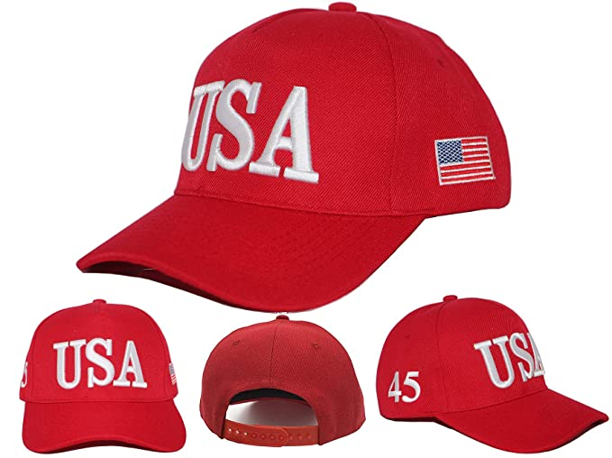 2dfc4ec04 Keep America Great 2020, with 45th President Donald Trump USA Cap/Hat and  USA Flag (Red) at Amazon Men's Clothing store: