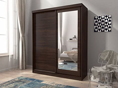 Mini 200 deslizante 2 puertas dormitorio pequeño armario con espejo blanco roble marrón w: 200 cm: Amazon.es: Hogar