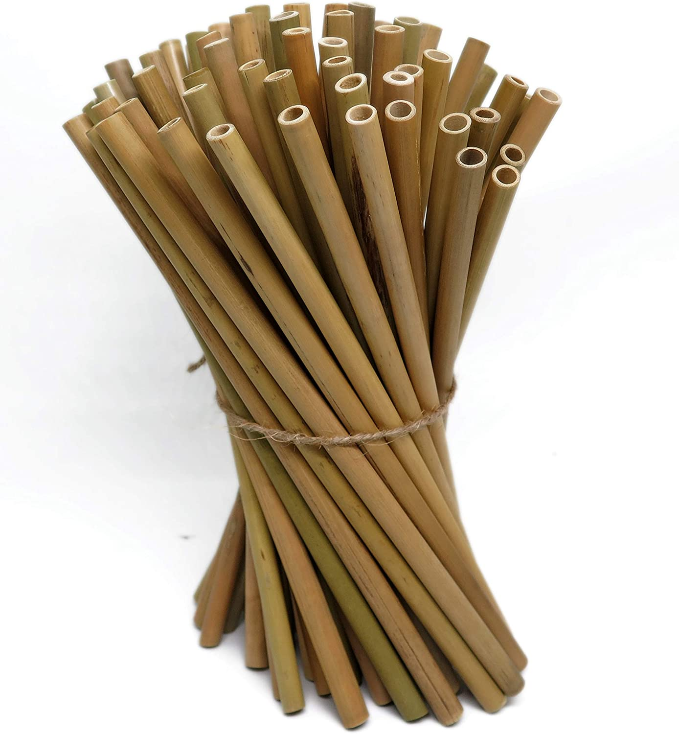 """IA Crafts Bamboo Sticks, Bamboo Straws, Bamboo Stakes Craft Supplies, for Crafts and DIY, Natural Bamboo Color, 7.87"""" Long and 0.28""""-0.32"""" in Diameter"""