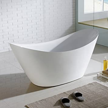 MAYKKE Bel 67 Inches Modern Oval Light Acrylic Bathtub Easy To Install  Freestanding White Soaker Tubs