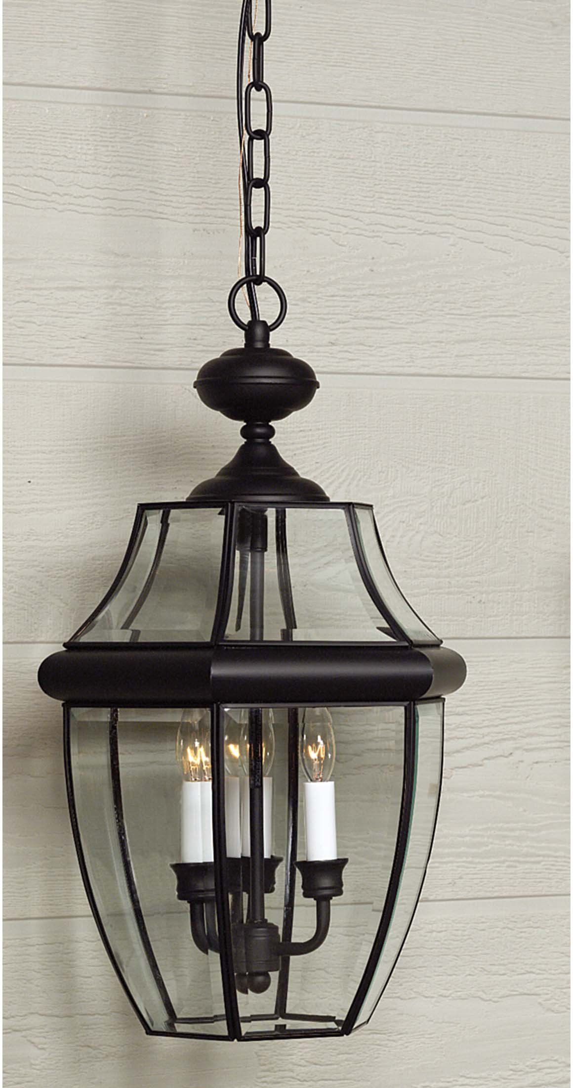 Quoizel NY1179K Newbury 3 Light Chain Hung Outdoor Wall Lantern with Mystic Black Finish