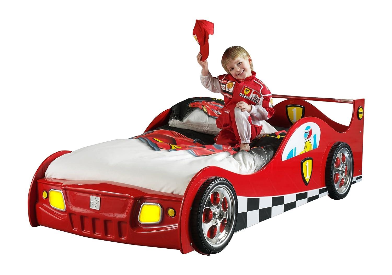 VIPACK SC865R Autobett Monza, circa 209 x 60 x 95 cm, Liegefläche 90 x 200 cm, lackiert aufgedruckte Rennwagen-Optik, rot