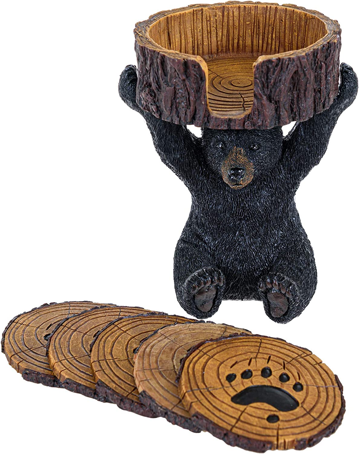 Black Bear Coasters Set - Coasters with Holder Rustic Home Decorations - Home Bar Accessories and Decor Wine Bottle Holder Bear Gifts Vintage Drink Coasters - Bear Items Coffee Table Decor Kitchen