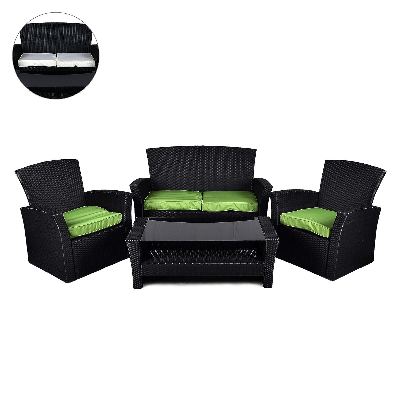 Rattan Set 4tlg mit Glastisch grün Garnitur Gartenmöbel Sitzgruppe ...