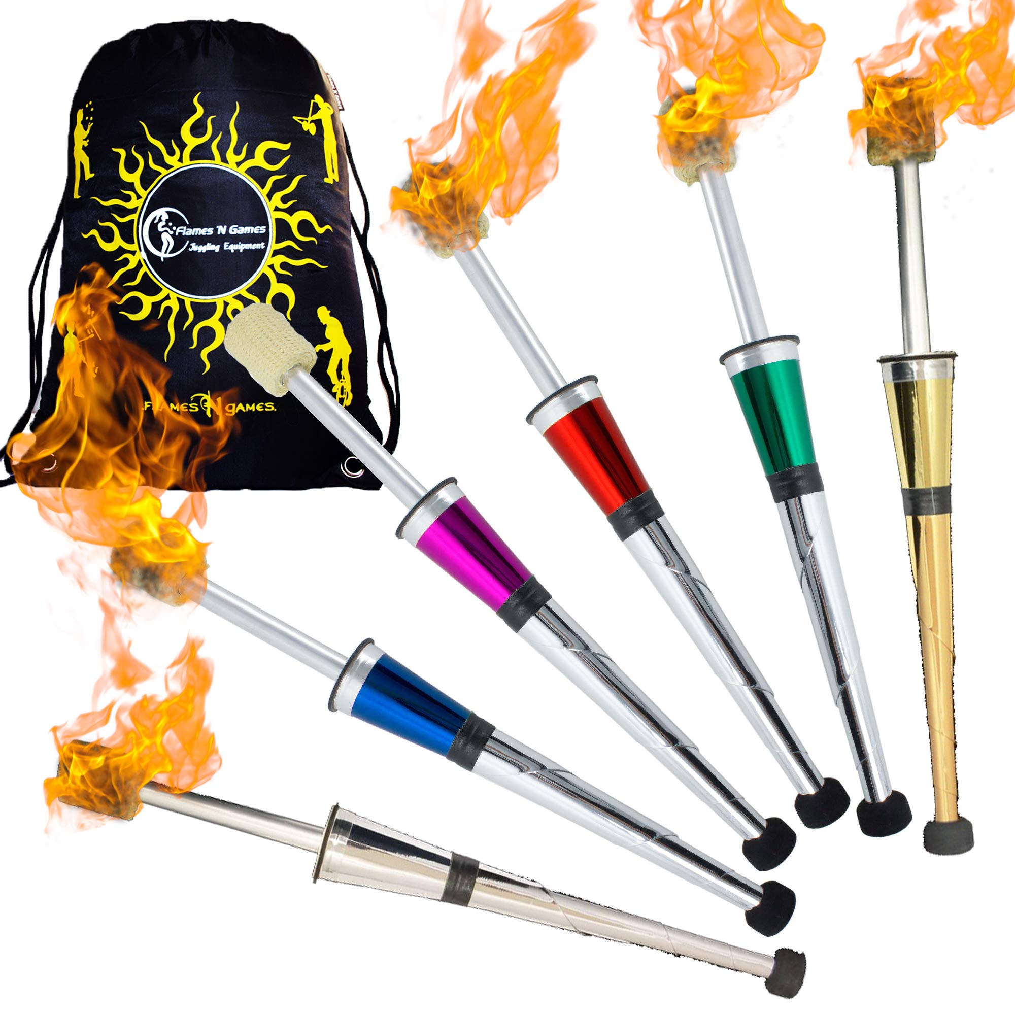 Henrys NITE FLITE Fire Juggling Torches (Price per Torch!) + Flames N Games Travel Bag! Supreme Professional Torches for Fire Juggling! (All-Silver) (Blue) by Henrys / Flames N Games