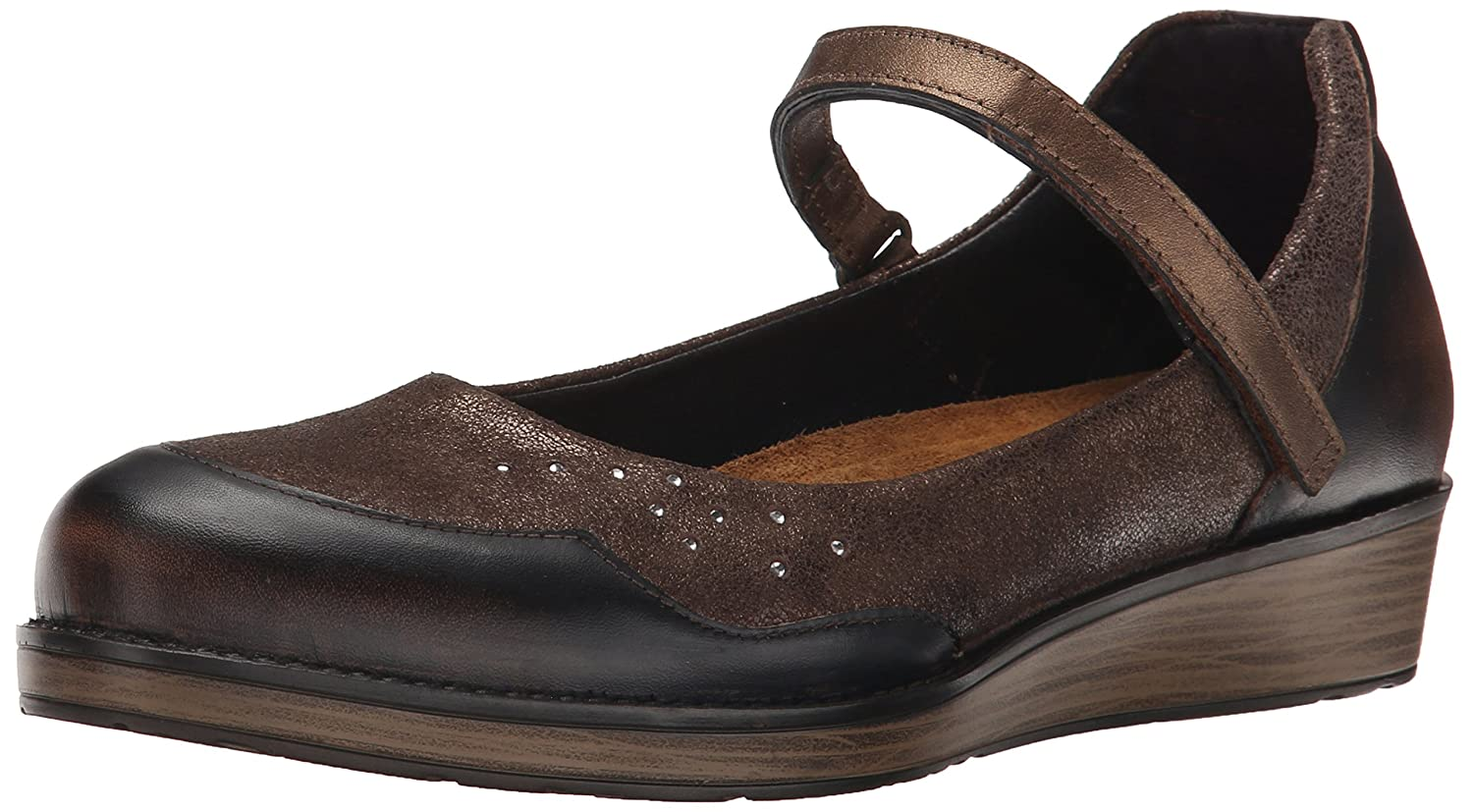 NAOT Women's Sincere Flat B00TQ6OPM8 39 EU/7.5-8 M US|Volcanic Brown/Bronze Shimmer Suede/Grecian Gold Leather