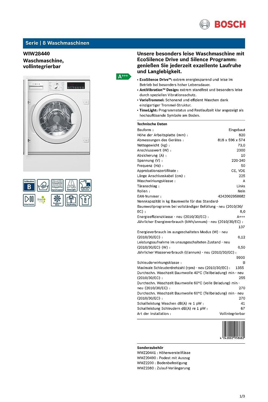 bosch wiw28440 waschmaschine einbau a 1355 upm extra. Black Bedroom Furniture Sets. Home Design Ideas