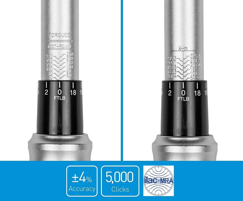 Diamond Ergonomic Grip 80-365 Foot Pounds Capri Tools 31104 3//4-inch Drive Torque Wrench