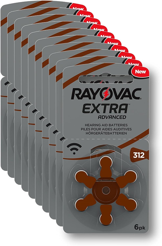 Rayovac Extra Advanced - Pilas Audífono, Pack de 10 x 6 pilas, Total= 60 pilas