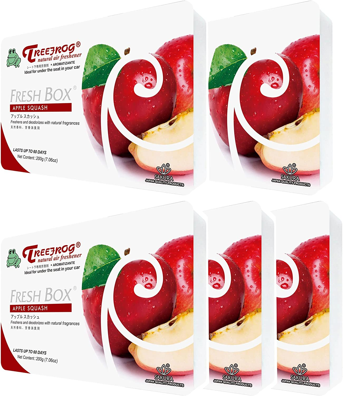 TREEFROG FRESH BOX Apple Squash Scent 5 Packs, Tree Frog JDM Car Air Freshener