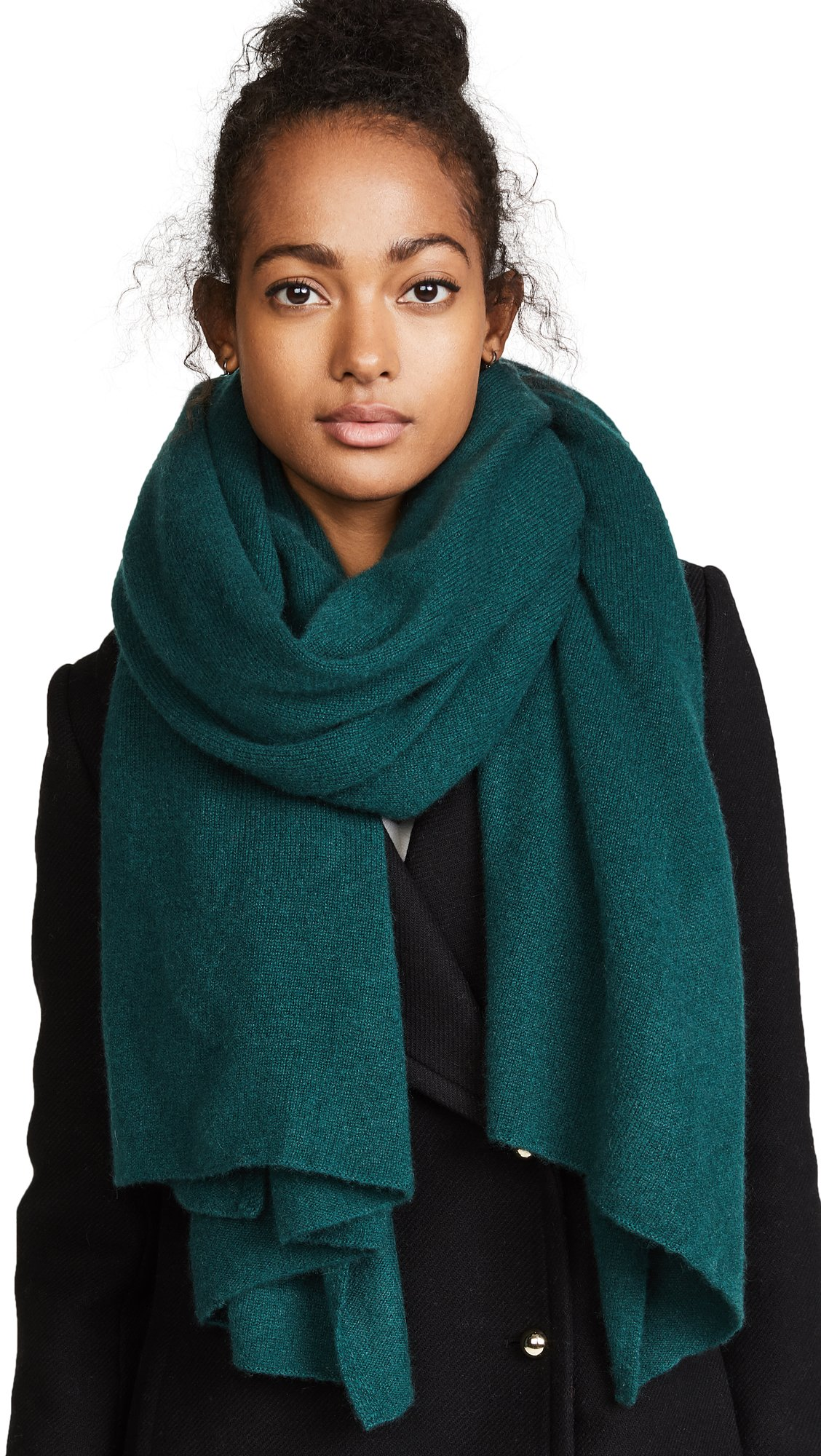 White + Warren Women's Cashmere Travel Wrap Scarf, Dark Cedar Heather, One Size
