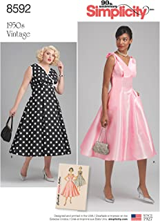 product image for Simplicity S 1950's Vintage Fashion Women's Empire Line Dress Sewing Patterns, Sizes 20W-28W, TAN