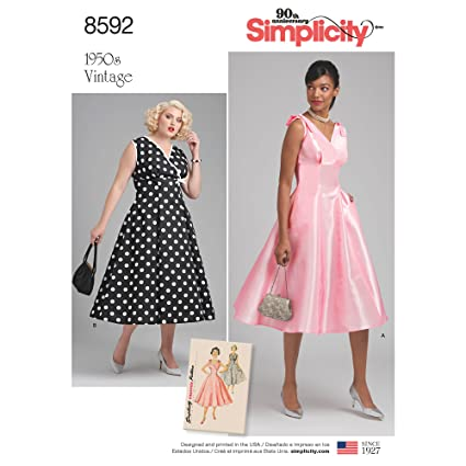 5f07c69615 Amazon.com  Simplicity Vintage US8592AA Sewing Pattern Dresses AA ...
