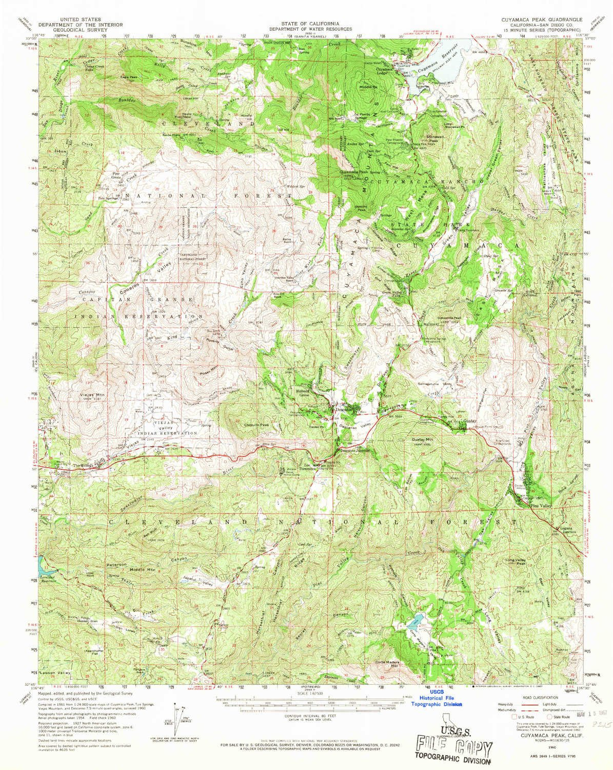 Topographic Map Of San Diego.Amazon Com Yellowmaps Cuyamaca Peak Ca Topo Map 1 62500 Scale 15
