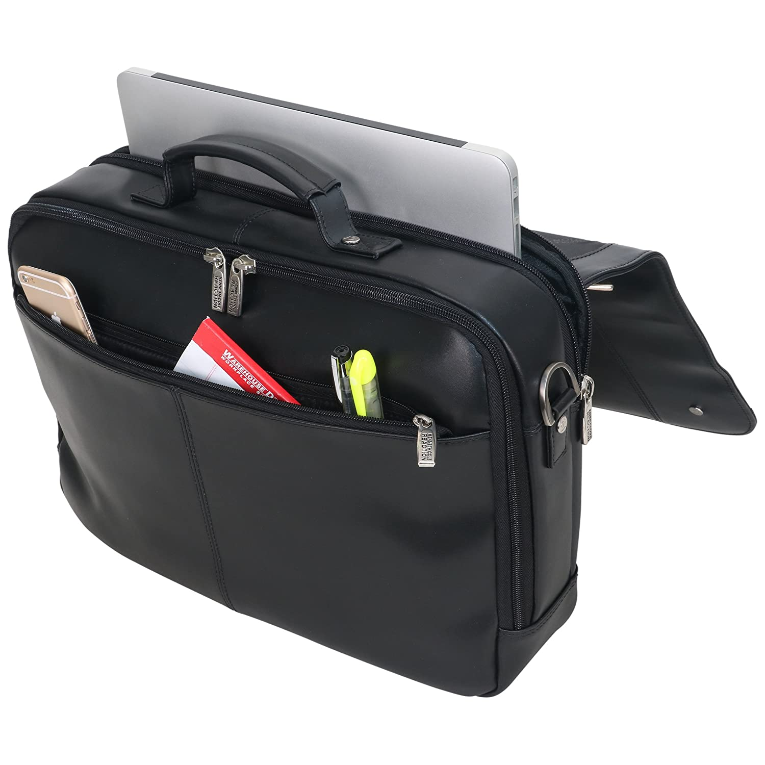 Kenneth Cole Reaction Leather Dual Compartment Flapover 16.0 Computer Business Crossbody Portfolio Laptop Briefcase One Size Black