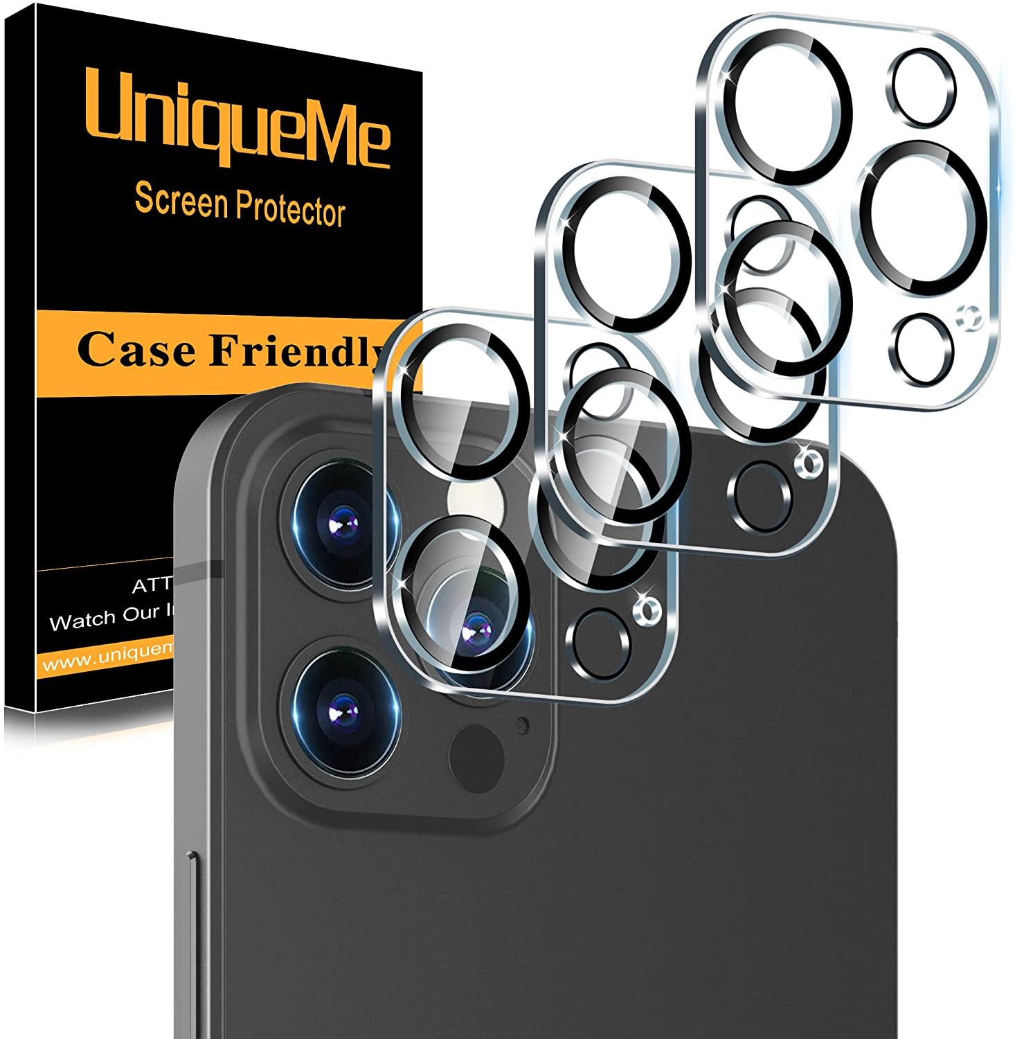 UniqueMe Screen Protector Compatible with iPhone 12 Pro Max 5G 6.7 inch Tempered Glass【NOT for iPhone 12 Pro】 Bubble Free 3 Pack HD Clear Anti-Scratch Easy Installation Frame