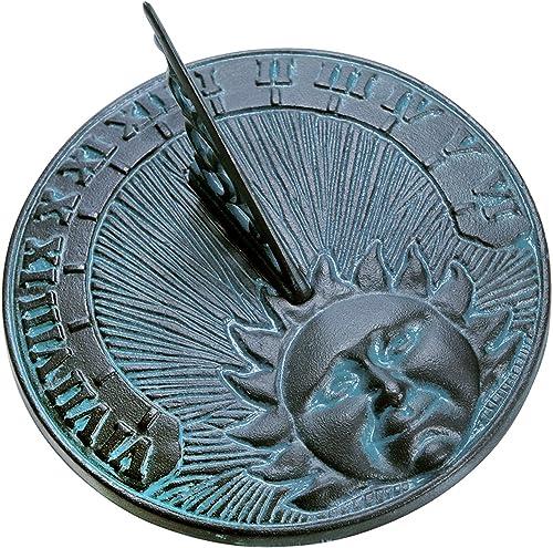 Rome 2518 Daybreak Sundial, Cast Iron with Verdigris Finish, 10.5-Inch Diameter