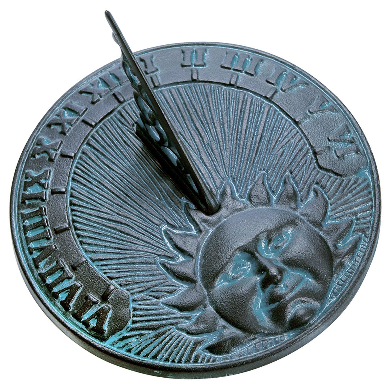 Rome 2518 Daybreak Sundial 10.5-Inch Diameter Cast Iron with Verdigris Finish