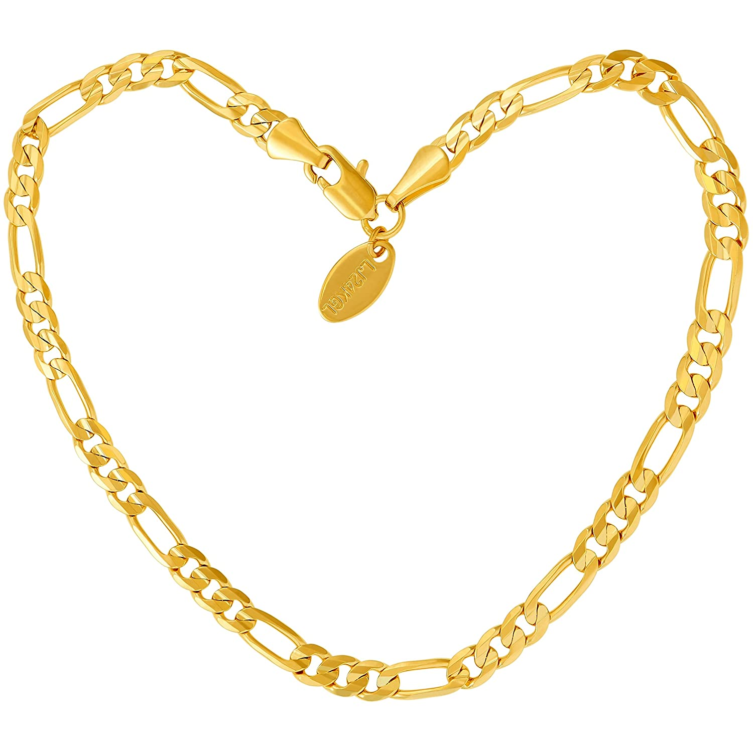 Lifetime Jewelry Anklets for Women Men and Teen Girls - 24K Real Gold Plated 4mm Figaro Chain - Durable Ankle Bracelet - Wear to Beach or Party - Cute Surfer Anklet - 9 10 and 11 inches Lifetime Products Group 10B Anklet