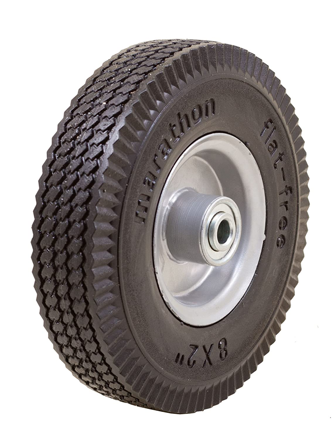 Marathon 8x2 Flat Free, Hand Truck / All Purpose Utility Tire on Wheel, 2.375 Centered Hub, 1/2 Bearings Marathon 8x2 Flat Free 2.375 Centered Hub 1/2 Bearings 33102