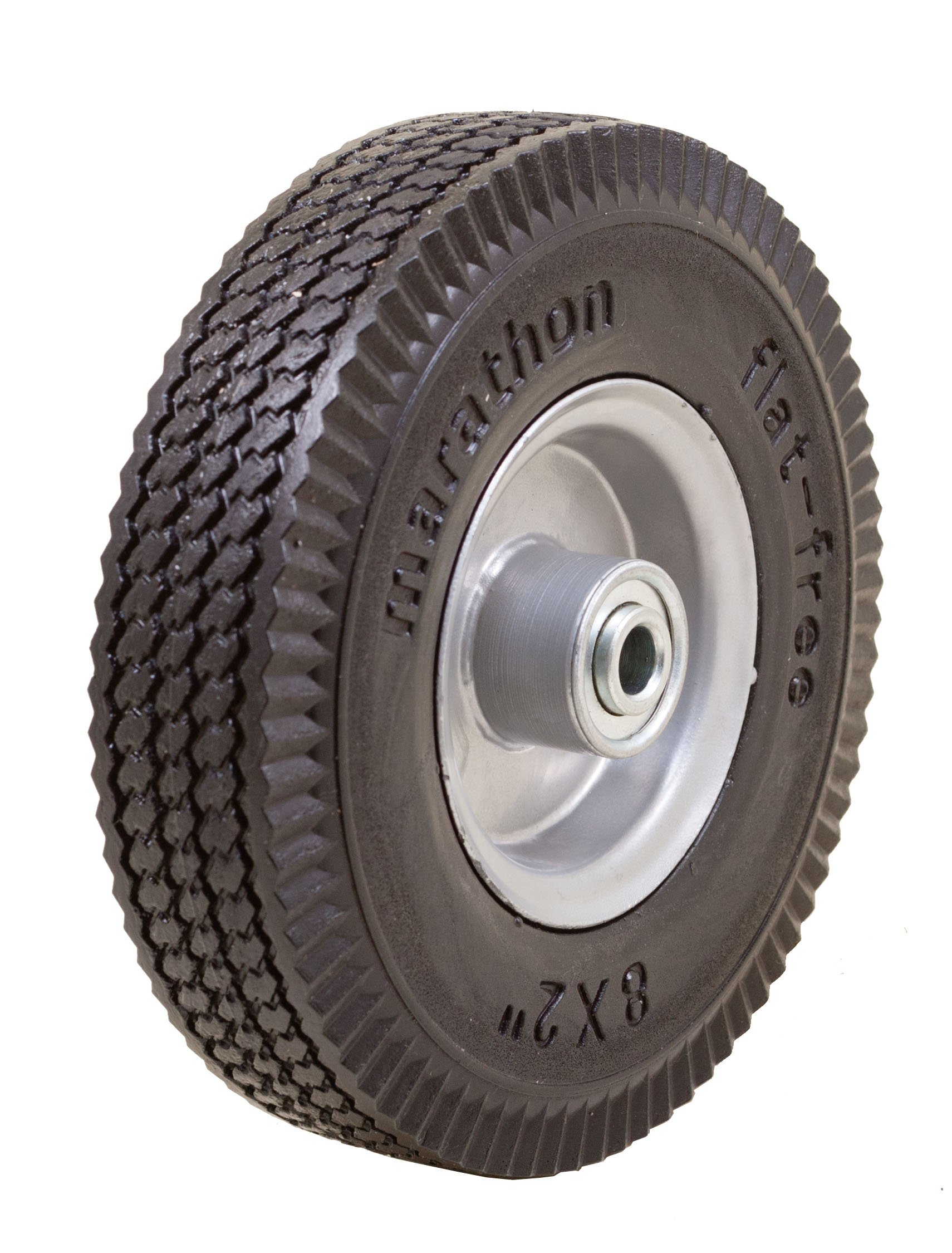 Marathon 8x2 Flat Free, Hand Truck/All Purpose Utility Tire on Wheel, 2.375'' Centered Hub, 1/2'' Bearings