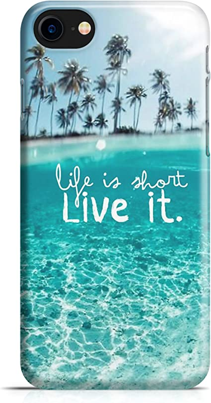 Cover Custodia Protettiva Case Spiaggia Palme Cristallina Mare Frase Life is Short Live it Compatibile con iPhone 7 - iPhone 7 Plus -iPhone 8 - iPhone ...