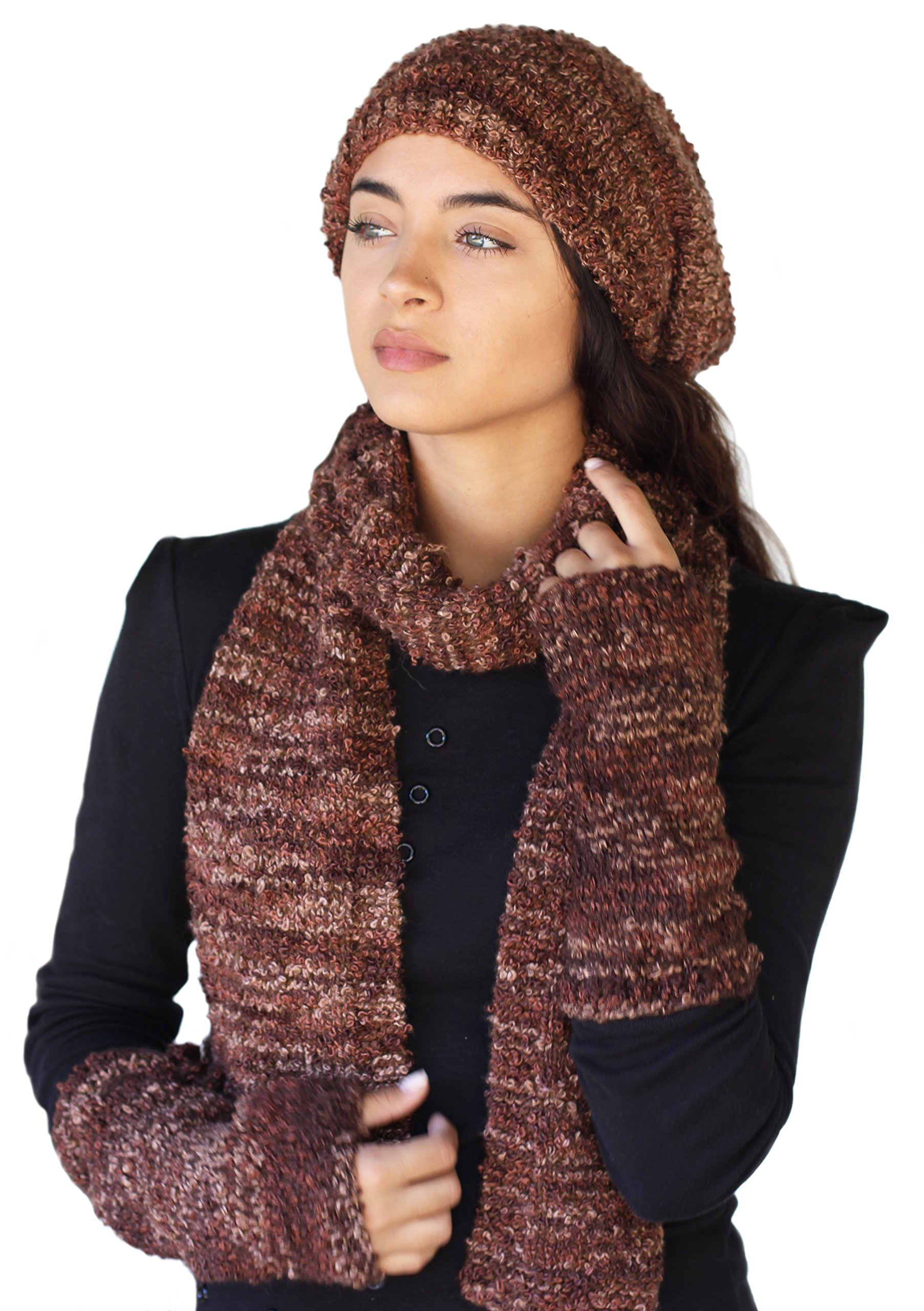 CLEARANCE - Soft ALPACA Complete Winter Three Piece Set - Marble Chocolate Cake by BARBERY Alpaca Accessories