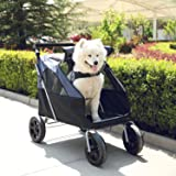 LAZY BUDDY Dog Stroller with 4 Rubber Wheels, Upgrade Spacious Upgrade Spacious Cat Wagon for Big/Medium Cat/Dog and Pets, Fo