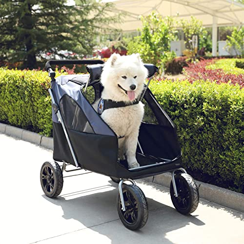 LAZY BUDDY Dog Stroller with 4 Rubber Wheels, Upgrade Spacious Stroller for Big Medium Dogs, Foldable Traveling Carrier with Adjustable Handle for Dogs, Cats and Other Pets