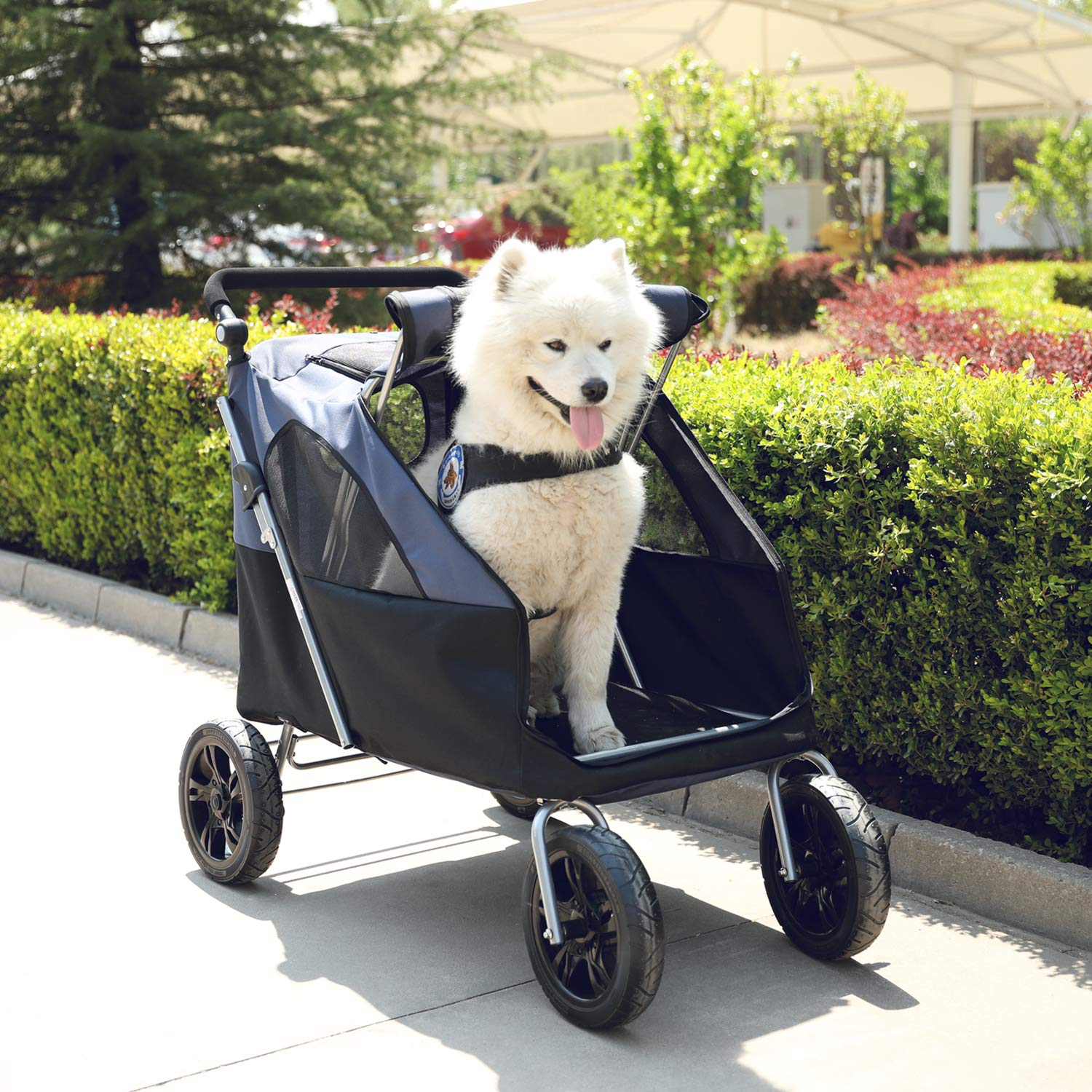 LAZY BUDDY Dog Stroller with 4 Rubber Wheels, Spacious Stroller for Big/Medium/Small Dogs, Foldable Traveling Carrier with Adjustable Handle for Dogs, Cats and Other Pets