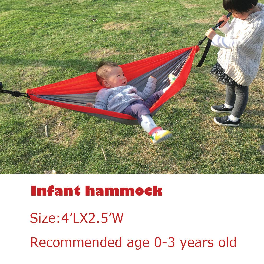 Acckiz Parachute Camping Hammock-5 Size for Infant Toddler Teenage Single Adult Double Adult -Includes Tree Friendly Hammock Straps 10FT Long 12Loops 2PCS and Strong Carabiners 2PCS