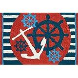 Jellybean Anchors Away Ships Wheel Nautical Sailing Area Accent Rug