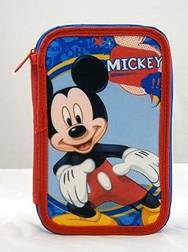 Di&Gi Disney - Estuche con 3 Cremalleras, diseño de Mickey Mouse, 20 x 13 x 7 cm: Disney: Amazon.es: Juguetes y juegos